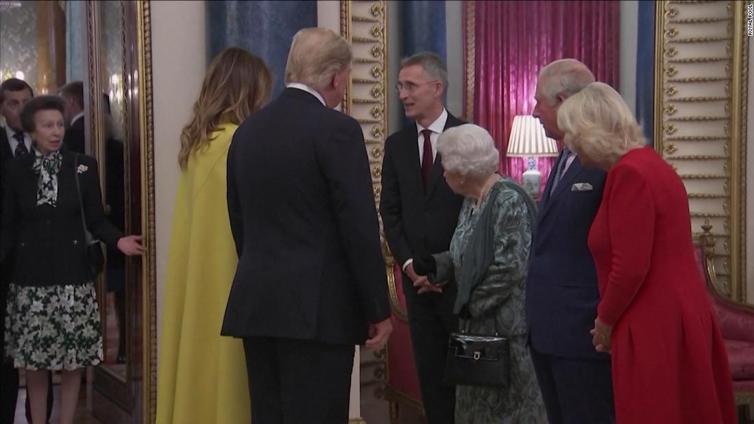Princess Anne shrugs as Queen gestures for her to greet Donald Trump in viral video