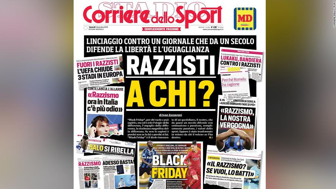 Corriere dello Sport accuses critics of 'lynching' over front page row