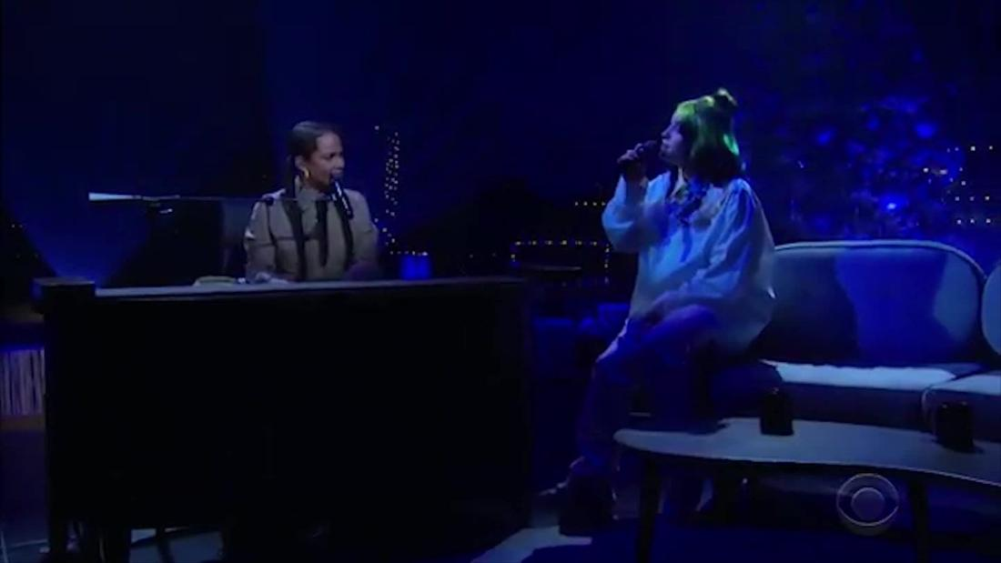 Billie Eilish performs with Alicia Keys on chat show